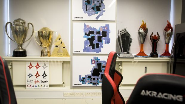 Team Astralis's training room, with trophies the team has won, at Rfrsh Entertainment's offices in Copenhagen. Photograph: Pete Kiehart/ The New York Times