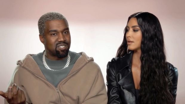Konfessional mode: Kanye and Kim in the new series of Keeping Up with the Kardashians. Photograph: E!