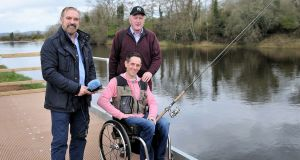 Lester Cassidy with RTÉ's Fergal Keane and  Irish Times angling correspondent Derek Evans at the new facility on the river Moy