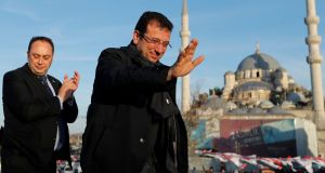 Ekrem Imamoglu: Both sides agree preliminary results give him a lead of 25,000 votes. But Erdogan's Justice and Development party has complained of irregularities. Photograph: Murad Sezer