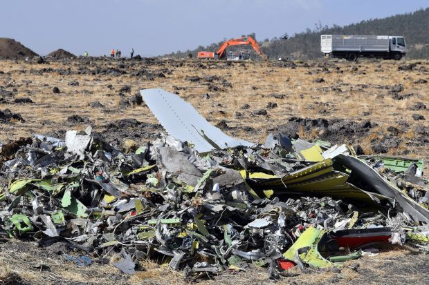Pieces of the wreckage of an Ethiopia Airlines Boeing 737 Max 8 aircraft are piled at the crash site near Bishoftu, Ethiopia on March 13th. Photograph: EPA/Stringer