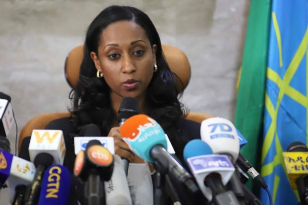 Ethiopian Transport minister Dagmawit Moges addresses a press conference on Thursday in Addis Ababa on the preliminary report on the Ethiopian Airlines ET 302 plane crash. Photograph: by Michael Tewelde/AFP/Getty