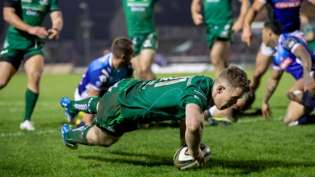 Connacht's Matt Healy scores a try in their Guinness Pro14 match against Benetton at the Sportsground on March 22nd.Photograph: Morgan Treacy/Inpho
