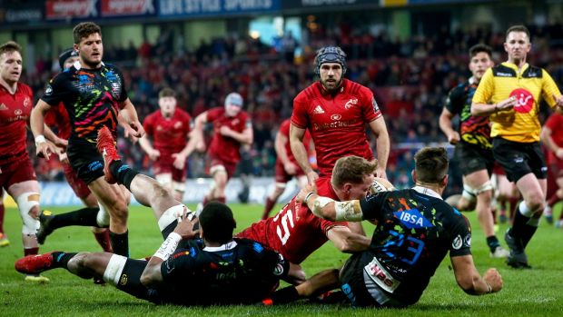 Munster's Mike Haley scores a try in their Guinness Pro14 match agains Zebre in Thomond Park on March 23rd. Photograph: Tommy Dickson/Inpho