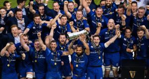 Leinster celebrate their Pro14 title win against Scarlets on May 26th, 2018. Photograph: Tommy Dickson/Inpho