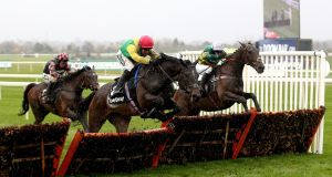 Supasundae ridden by jockey Robbie Power on the way to winning the Betway Aintree Hurdle  at Aintree Racecourse. Photograph: Nigel French/PA Wire