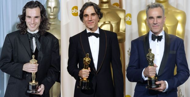 Triple Oscar winner: Daniel Day-Lewis with his Academy Awards. Photographs: Scott Flynn/Robyn Beck/Joe Klamar/AFP/Getty