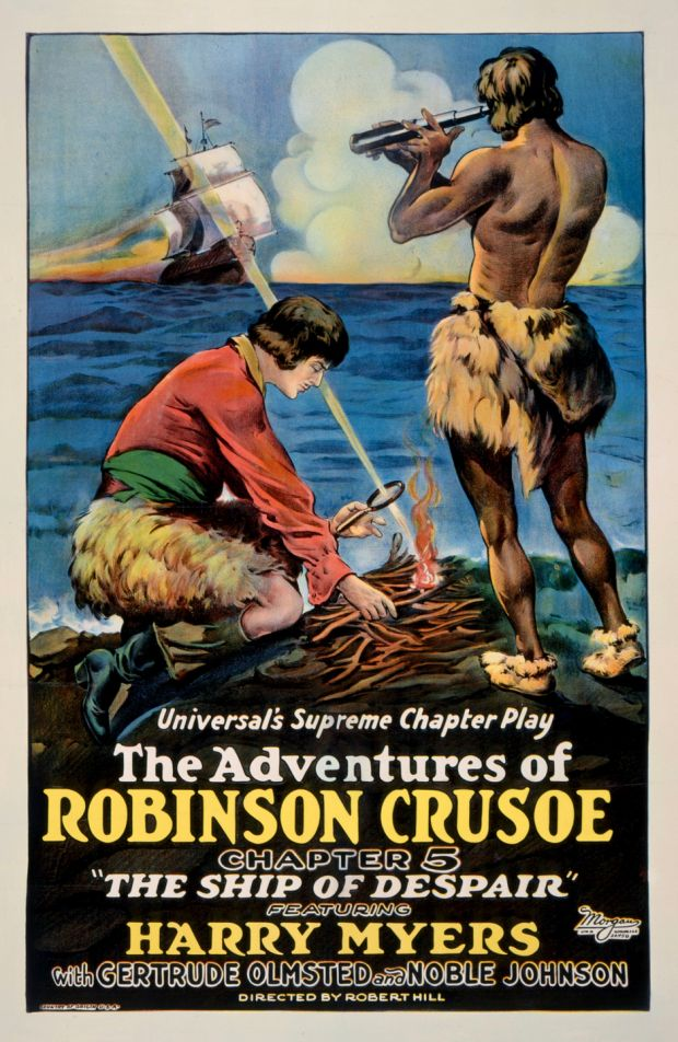 A film poster advertises the fifth episode of the serial The Adventures Of Robinson Crusoe, starring Harry Myers and Noble Johnson, 1922. Image: John D Kisch/Separate Cinema Archive/Getty