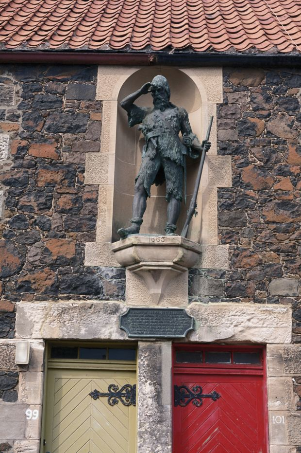 A statue of Alexander Selkrik (1676-1721), a Scottish sailor who spent years as a castaway on a remote island, and was possibly the inspiration for Robinson Crusoe, in Fife, Scotland. Photograph: RDImages/Epics/Getty Images
