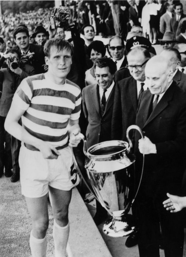 Billy McNeill of Celtic receives the European Cup trophy from the President of Portugal after the Scottish side's 2-1 victory over Inter Milan in Lisbon in the European Cup final. Photograph: Central Press/Getty Images