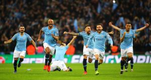 Manchester City celebrate after the penalty shootout against Chelsea in the Carabao Cup final at Wembley Stadium on February 24th, 2019. Photograph: Brunskill/Fantasista/Getty Images