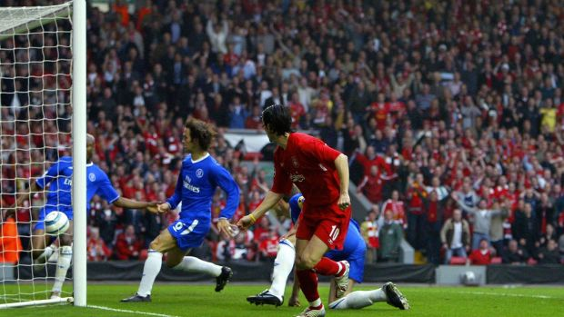 Liverpool's Luis Garcia watches his shot head for goal as Chelsea's William Gallas tries to clear the ball in the Champions League semi-final second leg football match at Anfield in May 2005. Photograph: Getty Images