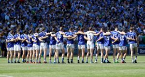 Laois line up for the Leinster final against Dublin at Croke Park. It was their first appearance in the decider in 12 years. Photograph: Bryan Keane/Inpho
