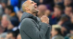 Manchester City's Catalan manager Pep Guardiola is aiming for a historic quadruple. Photograph: Getty Images