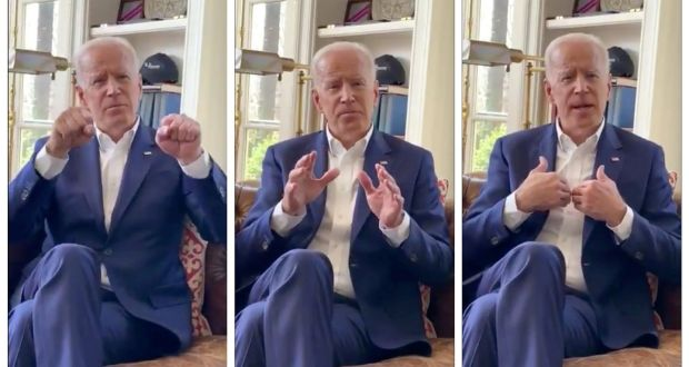 "Former US vice-president Joe Biden in stills from a video in which he pledges to be ""more mindful about respecting personal space in the future"". Photograph:  Joe Biden/Handout via Reuters."