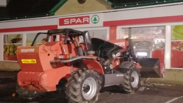 A PSNI photograph of a stolen machine that was used in at attempt to remove an ATM from a shop in Co Tyrone.