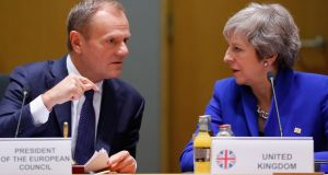 European Council president Donald Tusk and UK prime minister Theresa May. Photograph: Olivier Hoslet/Pool/EPA
