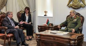 UN secretary general Antonio Guterres  meeting Gen Khalifa Haftar: 'I reiterate that there is no military solution for the Libyan crisis, only a political one,' said Mr Guterres earlier this month. File photograph: LNA War Information Division