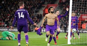 Liverpool's Mohamed Salah celebrates his goal at St Mary's. Photograph: PA
