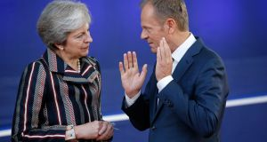 Theresa May and European Council President Donald Tusk pictured in Brussels last year. File photograph:Julien Warnand/ EPA