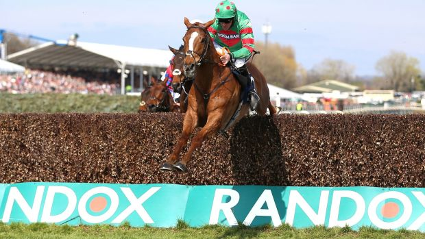 Ornua ridden by Davy Russell on the way to winning the Doom Bar Maghull Novices' Chase during Grand National Day at Aintree Racecourse in Liverpool. Photograph: Nigel French/PA Wire