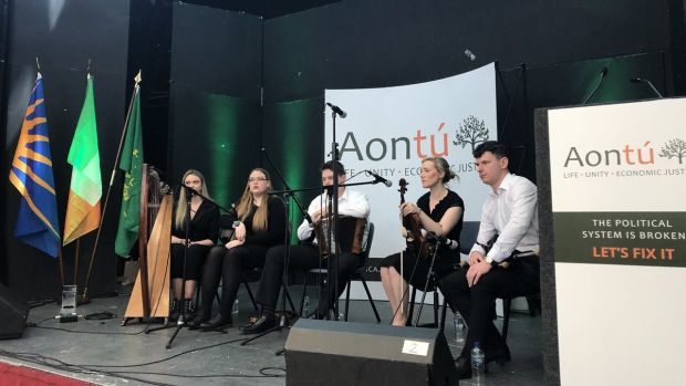More than 300 people attended the party's national launch on Saturday, which kicked off with a performance of traditional Irish music, including a harp and fiddle player. Photograph: Jack Power