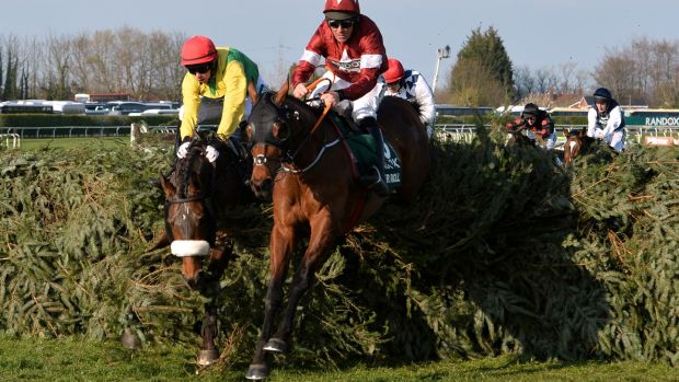 Tiger Roll and jockey Davy Russell on the way to winning back-to-back Grand National titles at Aintree. Photograph: Peter Powell/Reuters