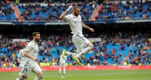 Real Madrid's Karim Benzema after scoring the winner against SD Eibar. Photograph: EPA