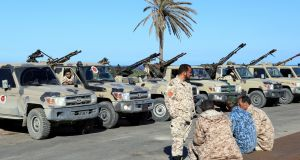 Military vehicles of Misrata forces, under the protection of Tripoli's forces, are seen in Tajura neighborhood, east of Tripoli. Photograph:Hani Amara/Reuters