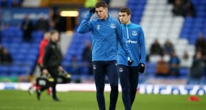 James McCarthy and Séamus Coleman during the warm-ups for  Everton's   FA Cup third-round match against  Lincoln City at Goodison Park in January. Photograph: Jan Kruger/Getty Images