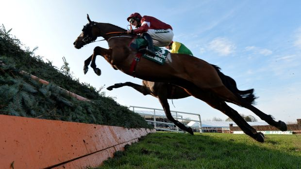 Cheltenham Racing Tiger Roll ridden by Davy Russell in action during the Grand National. Photograph: Peter Powell/Reuters