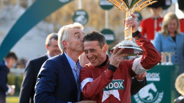 Cheltenham Racing Owner Michael O'Leary and jockey Davy Russell celebrate after Tiger Roll's victory in the Grand National. Photograph: Mike Egerton/PA Wire