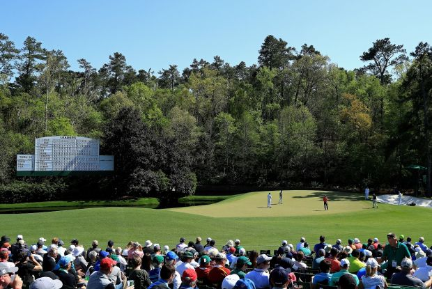 The beginning of Amen Corner and one of the hardest holes on the course where everything feeds towards the water.