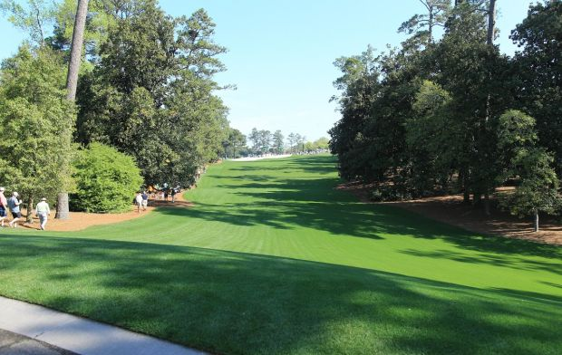 The view for the drive on the 18th can be seen here with the fairway turning sharply to the right and straight uphill.