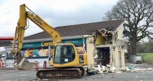The scene in Dungiven, Co Derry, after a cash machine was ripped from a wall and stolen in the latest of a spate of ATM thefts. Photograph: David Young/ PA Wire