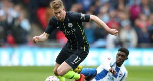 Manchester City's Kevin De Bruyne in action in their  FA Cup semi-final win over  Brighton on Saturday. Photograph:  Jon Super/Reuters