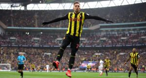 Watford's Gerard Deulofeu celebrates scoring his side's third goal during the FA Cup semi-final victory over Wolves at  Wembley Stadium, London.  Photograph:  Nick Potts/PA