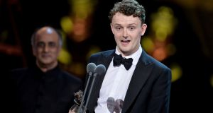 Chris Walley accepts the Best Actor In A Supporting Role award for The Lieutenant Of Inishmore on stage during The Olivier Awards in London, England. Photograph: Jeff Spicer/Getty Images.