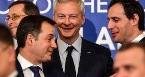 Belgium's finance minister Alexander De Croo, French economy minister Bruno Le Maire and Dutch finance minister Wopke Hoekstra in Bucharest. Photograph: Daniel Mihailescu/AFP/Getty Images