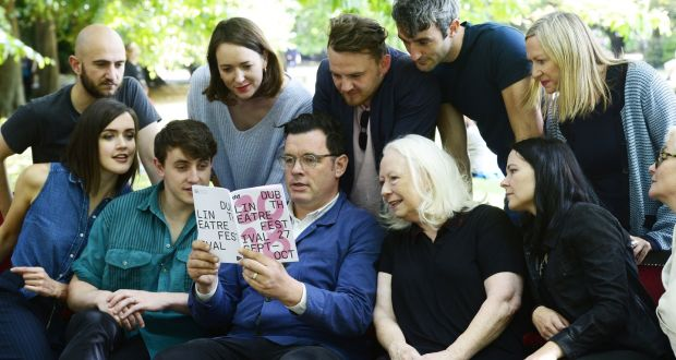 Dublin Theatre Festival: Willie White, surrounded by actors, at the launch of the 2018 event. Photograph: Cyril Byrne