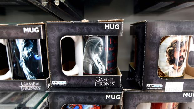 Game of Thrones mugs on sale in Dubrovnik, Croatia, which doubles as King's Landing in the show. Photograph: Denis Lovrovic/AFP