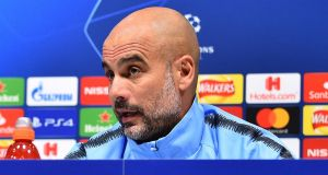 Manchester City   manager Pep Guardiola speaks during a press conference ahead of their Champions League quarter-final clash with   Tottenham Hotspur. Photograph: Getty Images