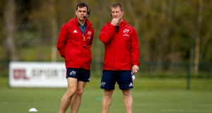 Munster head coach Johann van Graan and forwards coach Jerry Flannery. Photograph:  Ryan Byrne/Inpho