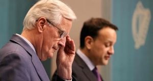 Taoiseach Leo Varadkar (R) and EU chief negotiator Michel Barnier at a press conference  following talks in Dublin on Monday. Photograph: PAUL FAITH/AFP/Getty Images