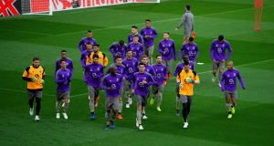 The Porto team train at Anfield ahead of Tuesday's Champions League quarter-final. Photograph: EPA