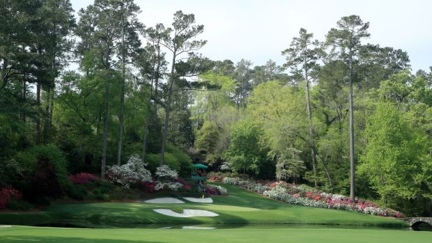 A general view of the 12th hole during a practice round prior to the Masters. Photograph: Andrew Redington/Getty Images