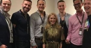 Taoiseach Leo Varadkar and Kylie Minogue with others at the singer's gig at the 3 Arena: He was never shy about his fandom. Photograph: Tiernan Brady/Twitter