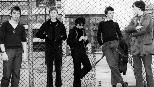 Feargal Sharkey, the Undertones and Billy DOHERTY and Damian O'NEILL; L-R. Damian O'Neill, Billy Doherty, John O'Neill, Michael Bradley, Feargal Sharkey. Photograph: Ebet Roberts/Redferns