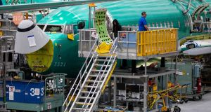 737 Max planes on the assembly line in Renton, Washington. Photograph: Ruth Fremson/The New York Times