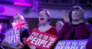 Attendees hold placards and shout during the People's Vote Rally in Westminster on April 9th, 2019. Photograph: Tolga Akmen/AFP